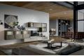 Parete attrezzata sospesa da soggiorno in legno massello di design