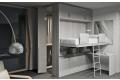 Letto trasformabile a soppalco con cabina armadio