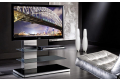 Mobile tv di design a colonna e ripiani in vetro con luce led