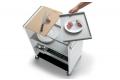 Carrello da cucina in acciaio con tagliere e vassoi