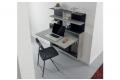 Consolle scrittoio in cemento sospeso con libreria e sedie