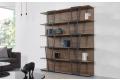 Libreria moderna a muro componibile in laminato noce e acciaio