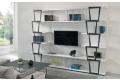 Libreria componibile da parete soggiorno bianca con elementi in metallo