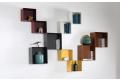 Libreria a muro da soggiorno di design composta da pensili a cubi