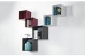 Libreria sospesa a muro moderna con pensile a cubo in metallo