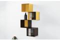 Pensili libreria di design sospesa a parete in acciaio colorato