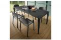 Tavolo moderno da soggiorno allungabile color antracite con piano in laminam