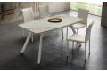 Tavolo in gres porcellanato bianco statuario allungabile con gambe bianche