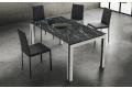 Tavolo allungabile di design da soggiorno con piano in HPL e gambe bianche con inserto