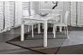 Tavolo in vetro bianco lucido allungabile da soggiorno con gambe bianche