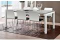 Tavolo in vetro bianco lucido allungabile di design con gambe in alluminio