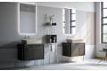 Arredo bagno classico moderno con gambe in metallo e specchio retroilluminato