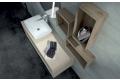 Mobile bagno con pensili a giorno e lavabo in cristalplant