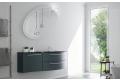 Mobile bagno curvo moderno con top in vetro