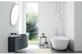 Arredo bagno moderno e sospeso con top curvato in vetro