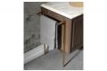 Mobile bagno classico moderno con top in marmo e porta salviette in ottone