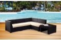 Salotto da veranda antracite con cuscini colore bianco