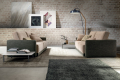 Salotto di design con due divani a due posti bicolore con sedute estraibili