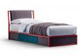 Letto per ragazzi moderno in ferro colorato con cassetti contenitore scorrevoli rivestiti in tessuto