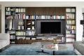 Parete libreria design in legno da soggiorno
