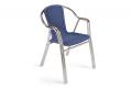 Sedia da veranda con struttura in alluminio e seduta colore azzurro