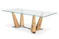 Tavolo rettangolare in vetro con gambe in legno di Bricole di Venezia
