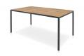 Tavolo moderno fisso da cucina con piano in abete con nodi e gambe antracite