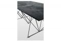 Tavolo moderno con piano in ecomlata e struttura in tondino nero