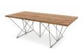 Tavolo design in rovere antico con struttura in tondino metallico grigio