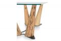 Tavolo soggiorno rettangolare in vetro con gambe in legno di Bricole di Venezia