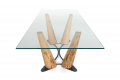 Tavolo rettangolare fisso in vetro trasparente con gambe in legno Bricole di Venezia