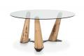 Tavolo rotondo in vetro con gambe in legno di Bricole di Venezia