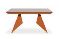 Tavolo allungabile moderno arancione con piano in vetro moka