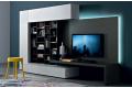 Mobile soggiorno libreria con pannello porta tv con illuminazione a led
