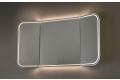 Specchiera design retroilluminata con angoli arrotondati e ante laterali chiudibili