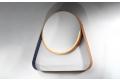 Specchiera rotonda di design in finitura oro e viola con mensola e retroilluminazione a led