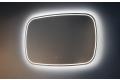 Specchiera moderna retroilluminata con angoli arrotondati e funzione antiappannamento