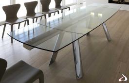 Tavolo Vetro Trasparente Allungabile.Infinity Glass Extendable Dining Table Toparredi Arredo Design