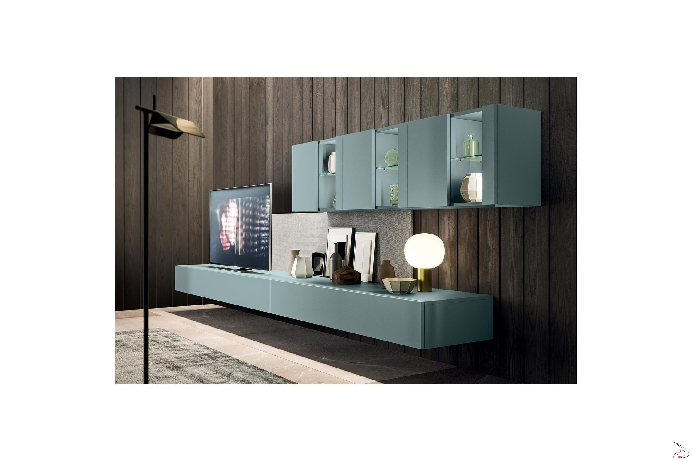 Mobile soggiorno sospeso moderno con vetrine Melis | TopArredi