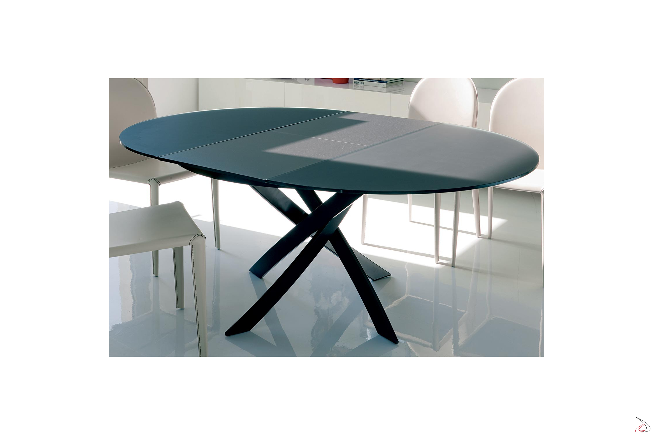 Tavolo rotondo barone di bontempi toparredi for Tavolo ovale in vetro allungabile