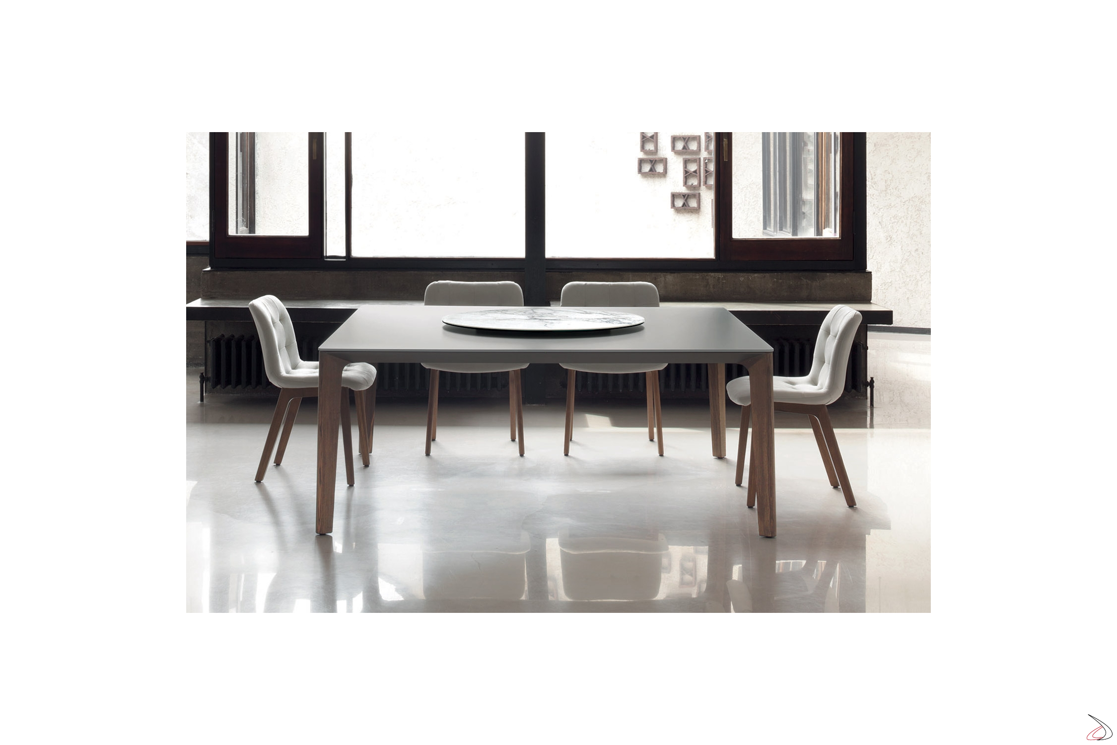 Tavolo Quadrato In Legno Allungabile.Versus Table For Living Room In Aluminum Solid Wood And Crystal