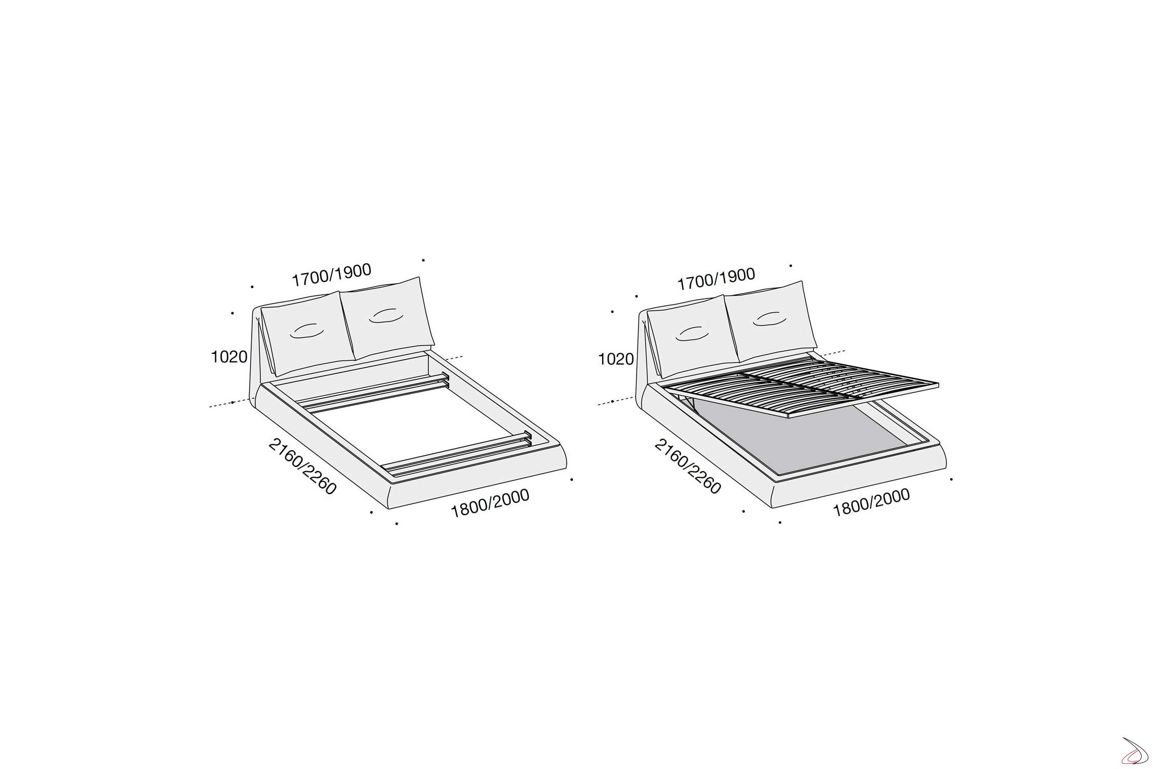 Misure Letto Contenitore Matrimoniale.Flipflap Modern Bed Toparredi Arredo Design Online