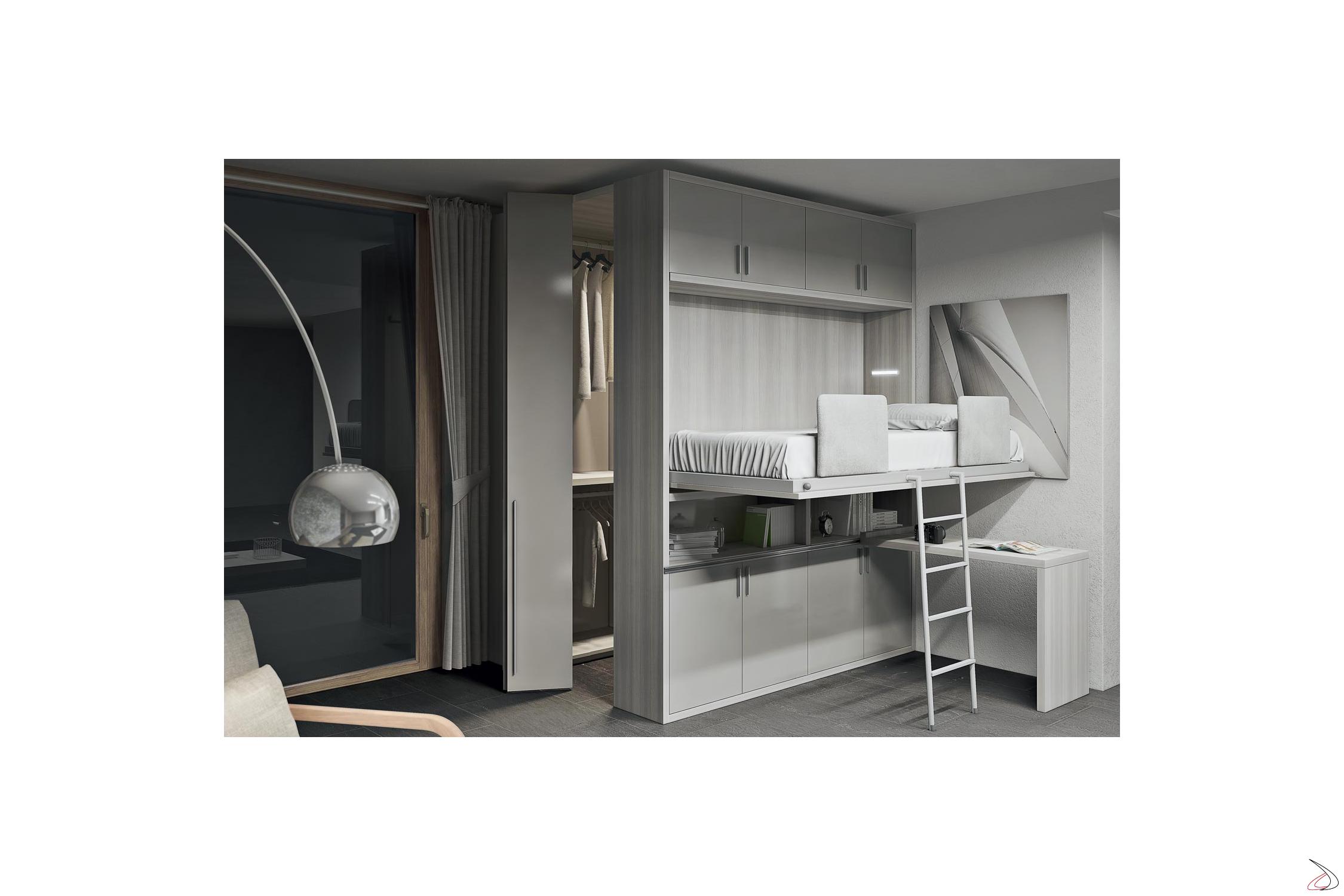 Letto Soppalco Con Cabina Armadio.Single Bed With Loreb Wardrobe Toparredi Arredo Design Online
