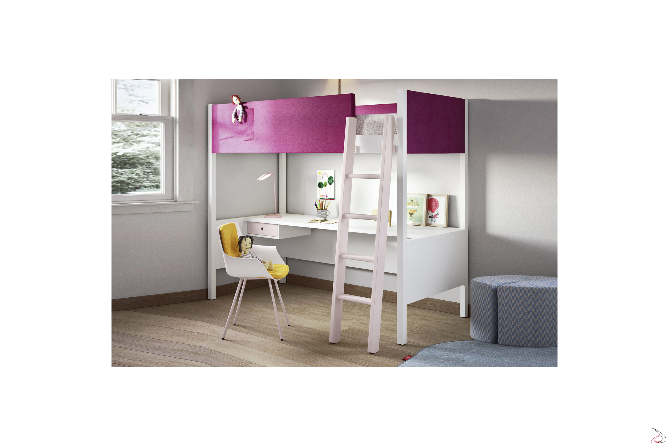 Scale Per Letti A Castello.Camelot Bunk Bed With Desk Toparredi Arredo Design Online