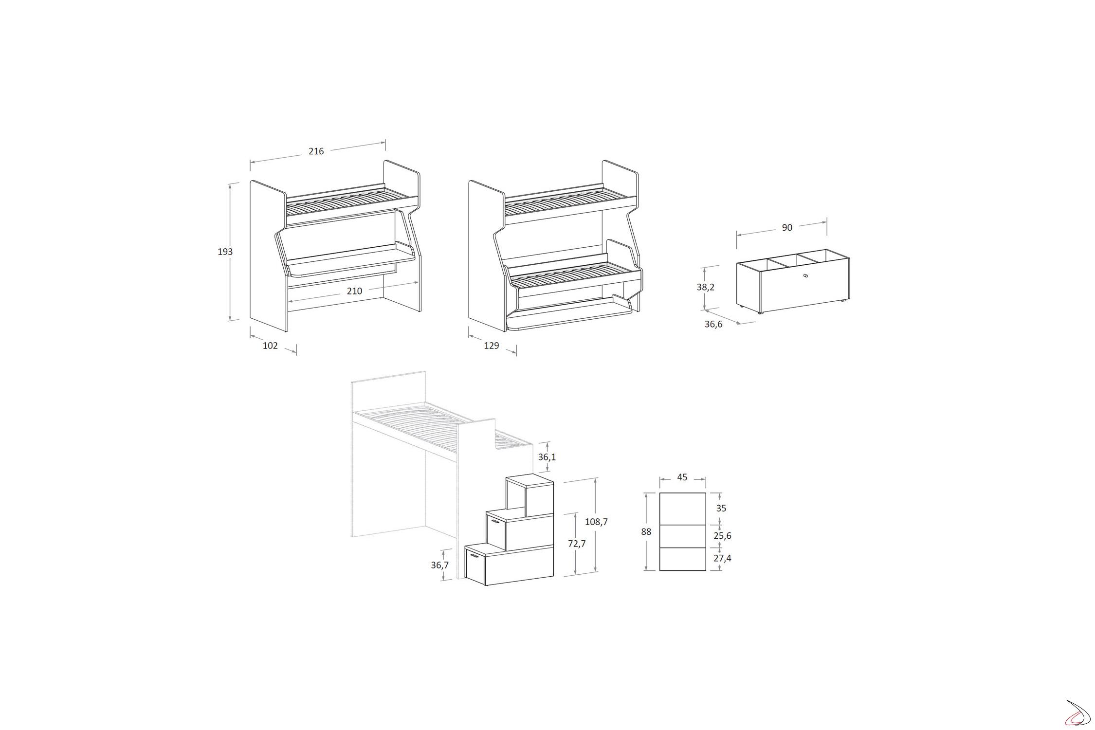 Misure Letto A Castello.Tippy Bunk Bed Toparredi Arredo Design Online