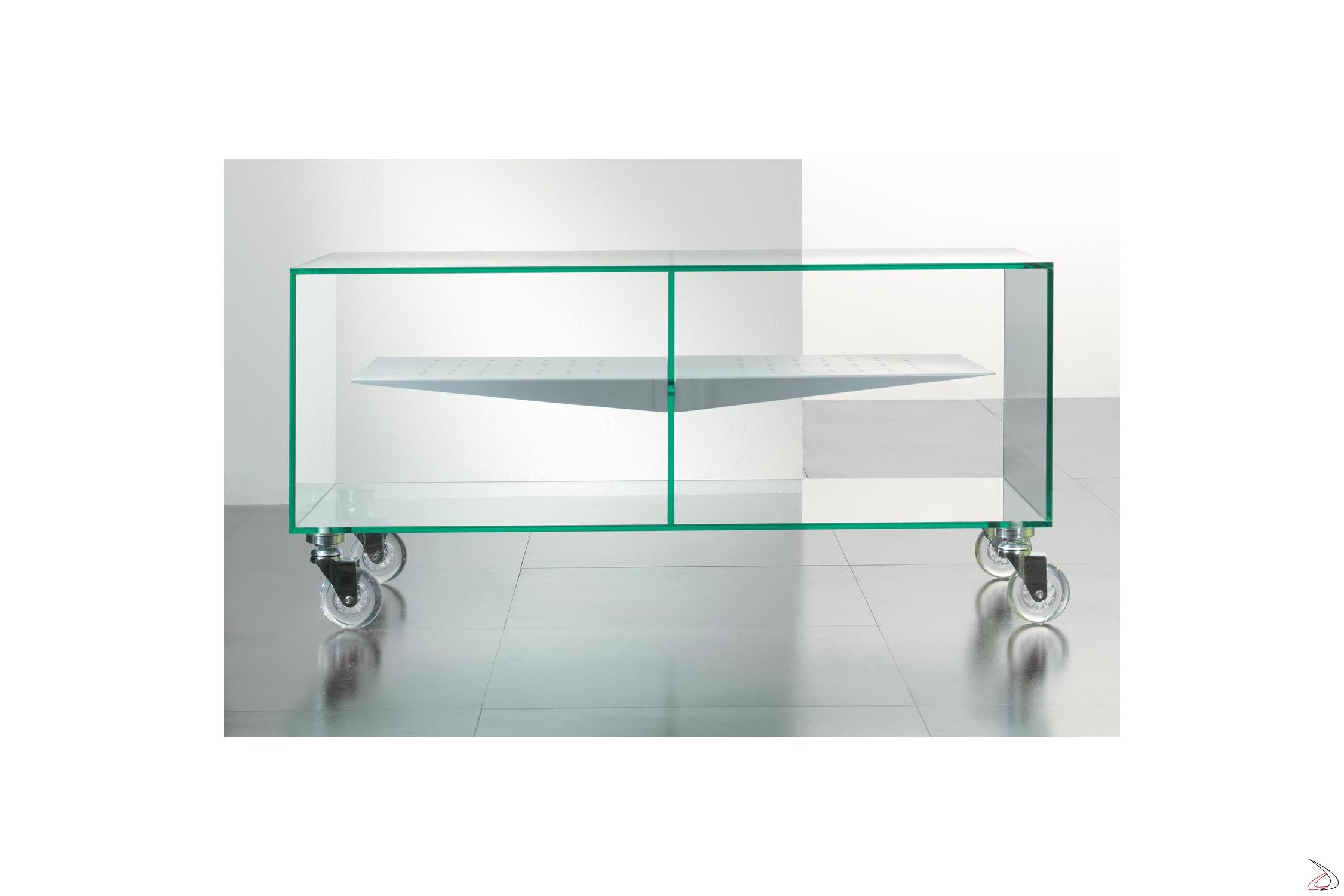 Porta Tv Cristallo Design.Tv Stand In Transparent Glass On E Box Wheels Toparredi Arredo