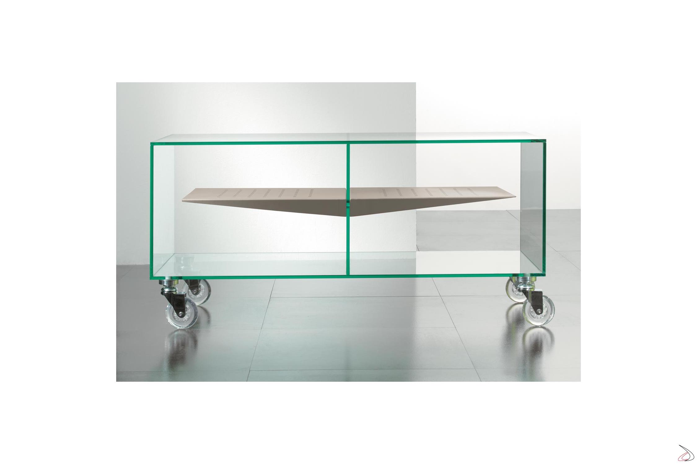Tavolino Porta Tv Con Ruote.Mobile Porta Tv In Vetro Trasparente Su Ruote E Box Toparredi