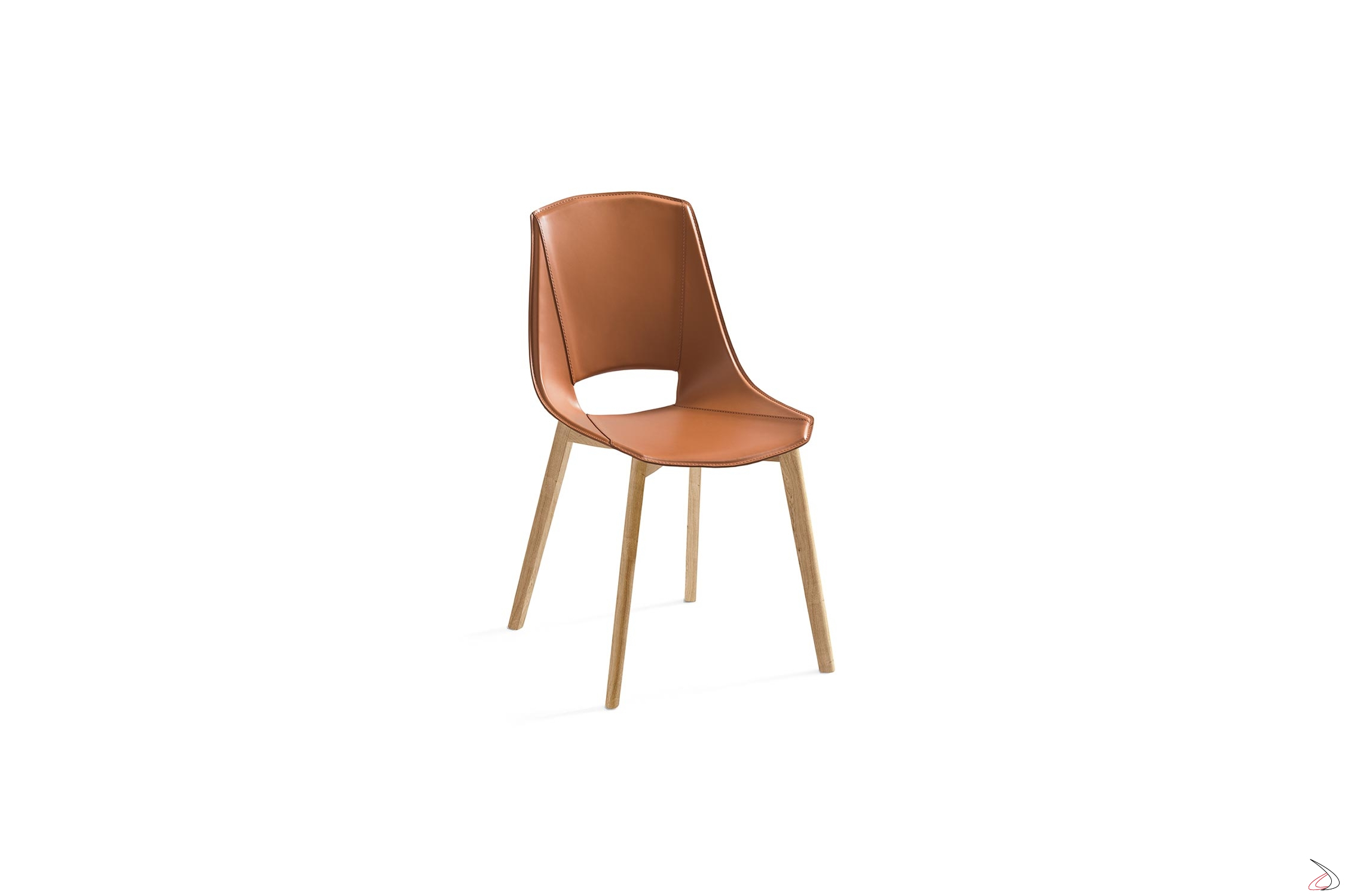 Sedie Design Legno E Pelle.Eva 5 Chair With Solid Wood Frame Toparredi Arredo Design Online