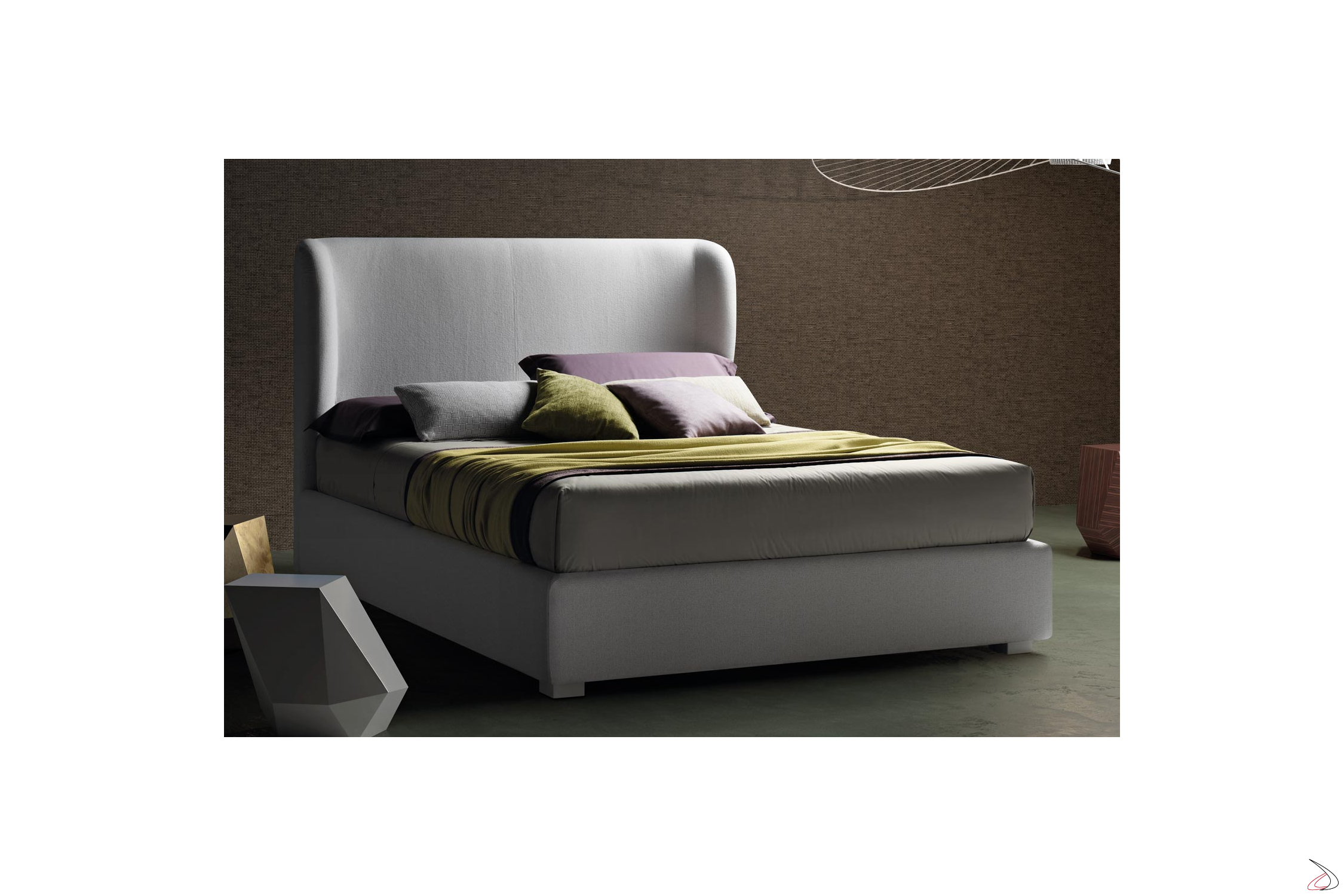 Letto Con Testata.Modern Bed With Alby Curved Headboard Toparredi Arredo Design