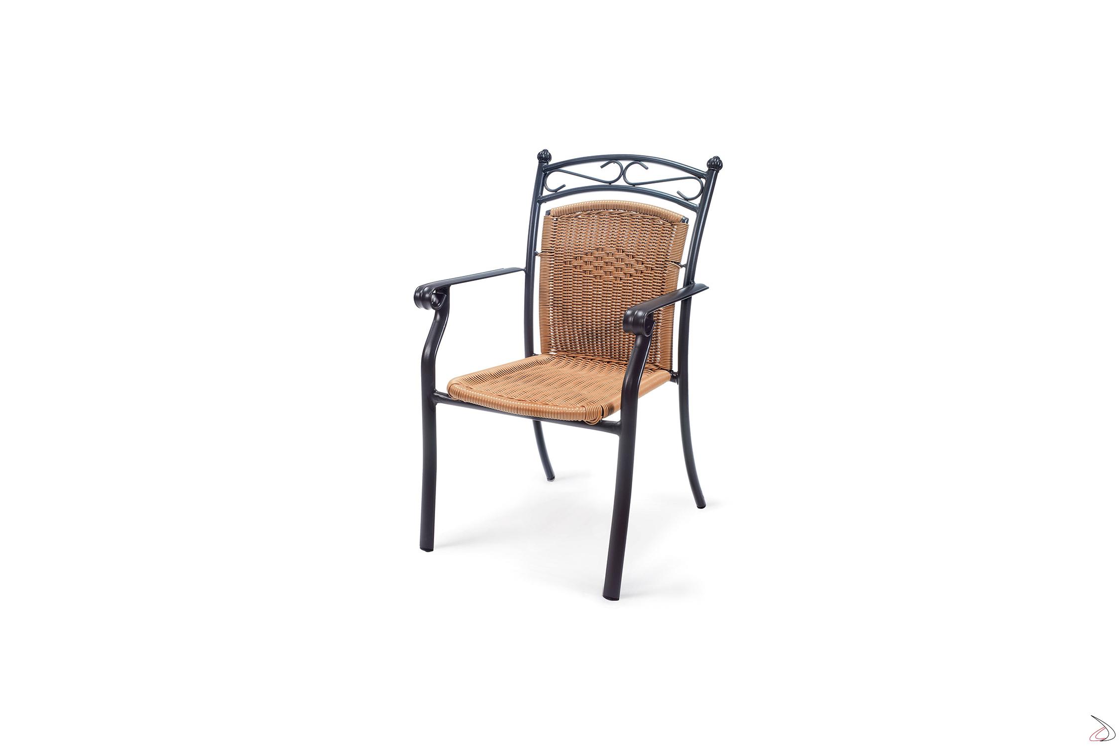 Sedia con braccioli in alluminio cina toparredi arredo for Sedia particolare